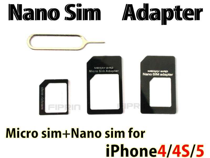 ■For iPhone 5/4S/4/NanoSIM→SIMカード■NanoSIM MicroSIM 変換アダプター ■SIM 取り出しツール付き■3点セット