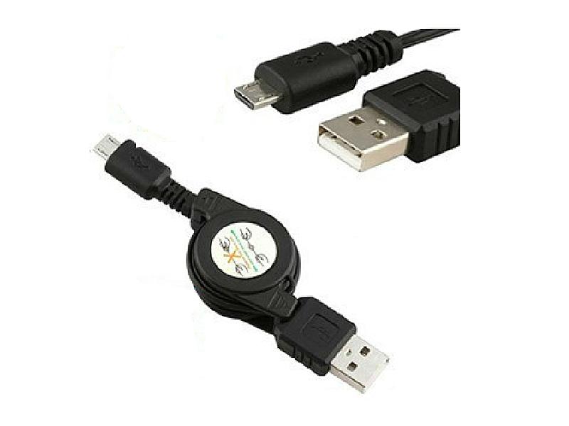 充電/データ転送用■MicroUSBケーブル■巻き取り式■ブラック  カラー:ブラック